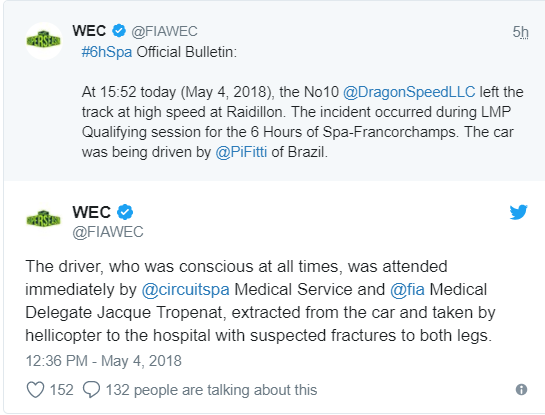 Grave accidente de Fittipaldi — WEC