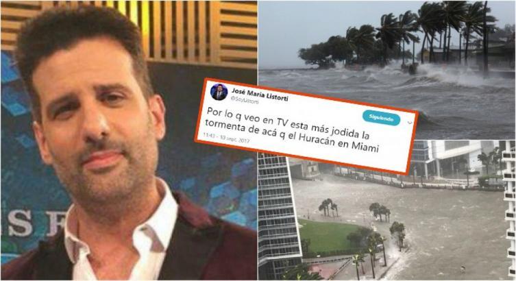 Listorti hizo un chiste sobre el huracán Irma y lo destrozaron