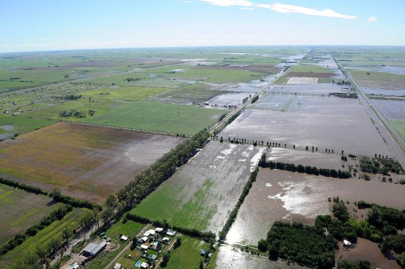 Vista aérea de las zonas inundadas en Santa Fe